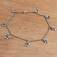 Sterling silver charm anklet, 'Shining Jepun' - Hand Crafted Sterling Silver Jepun Flower Charm Anklet