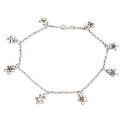 Sterling silver charm anklet, 'Shining Jepun' - Hand Crafted Sterling Silver Jepun Flower Charm Anklet