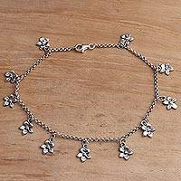 Sterling silver charm anklet, 'Glimmering Flowers'