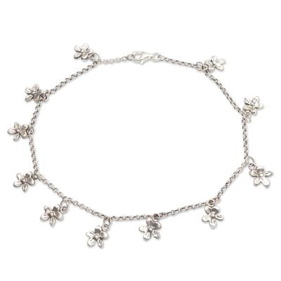 Sterling silver charm anklet, 'Glimmering Flowers' - Sterling Silver Floral Charm Anklet from Bali