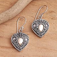 Gold-accented sterling silver dangle earrings, 'Sukawati's Love'