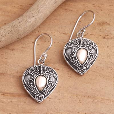 Gold-accented sterling silver dangle earrings, 'Sukawati's Love' - Oxidized Sterling Silver Earrings with Gold Plated Detail
