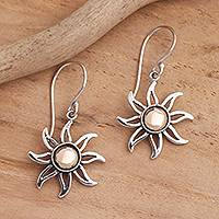 Gold-accented sterling silver dangle earrings, 'Celuk Sun' - Sunburst Sterling Silver Earrings with Gold Plated Accent
