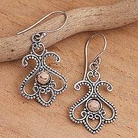 Gold-accented sterling silver dangle earrings, 'Tendrils at Dawn' - Balinese Motif Sterling Silver Gold Plate Dangle Earrings