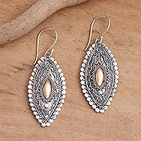 Gold-accented sterling silver dangle earrings, 'Canoe' - Gold Plated Sterling Silver Balinese Dangle Earrings