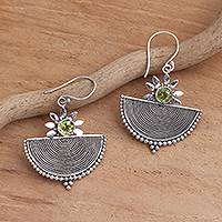 Peridot dangle earrings, 'Here Comes the Sun' - Balinese Motif Faceted Peridot Dangle Earrings