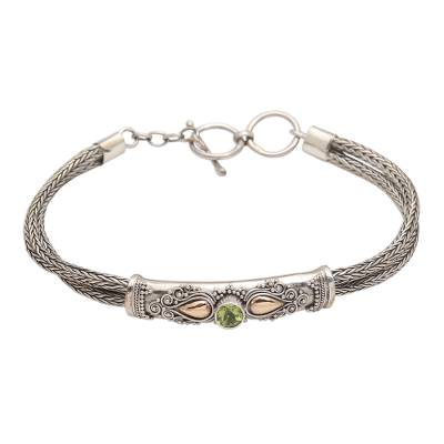 Gold-accented peridot pendant bracelet, 'Front to Back in Green' - Sterling Silver Naga Chain Bracelet with Peridot