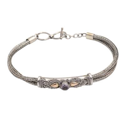 Gold-accented amethyst pendant bracelet, 'Front to Back in Purple' - Sterling Silver Naga Chain Bracelet with Amethyst