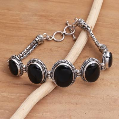 Onyx pendant bracelet, 'Five Panels' - Black Onyx and Silver Toggle Clasp Bracelet