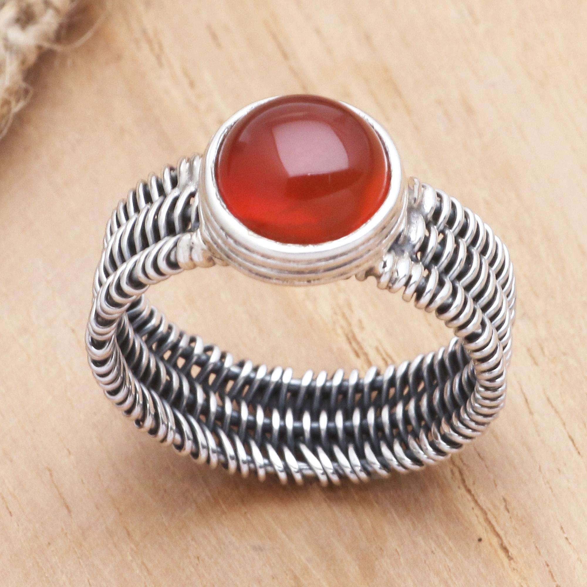 Carnelian Wire Ring