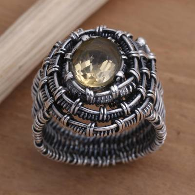Citrine cocktail ring, 'Guarded Wire in Yellow' - Handmade Citrine Sterling Silver Cocktail Ring
