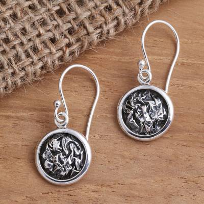 Sterling silver dangle earrings, 'Crinkle' - Sterling Silver Circle Earrings with Crinkle Pattern