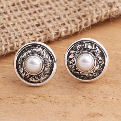 Cultured pearl button earrings, 'Pearl Crinkle' - Sterling Silver Cultured Pearl Button Earrings