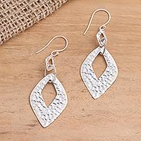 Sterling silver dangle earrings, 'Hammered Gates' - Hammered Sterling Silver Diamond Shape Dangle Earrings