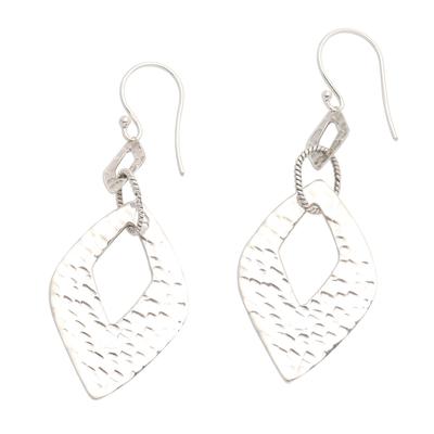 Hammered Sterling Silver Diamond Shape Dangle Earrings
