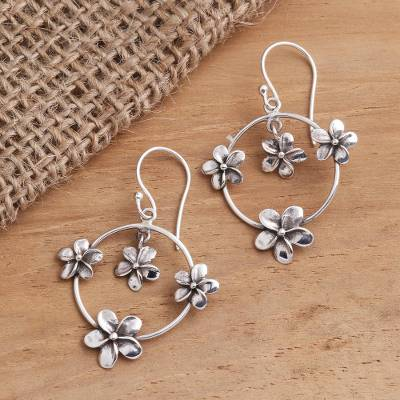 Sterling silver dangle earrings, 'Jepun Orbit' - Plumeria Flower Sterling Silver Dangle Earrings