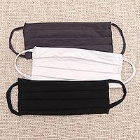 Rayon and Lycra face masks 'Solid Neutrals' (set of 3) - 1 White/1 Black/1 Grey Pleated Rayon & Lycra Ear Loop Masks