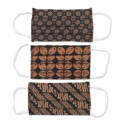 Cotton face masks, 'Bold Black and Honey Brown' (set of 3) - 3 Black and Brown Cotton Pleated 2-Layer Face Masks
