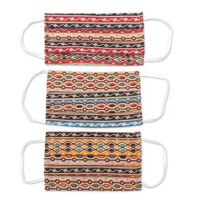 Cotton face masks, 'Busy Colors' (set of 3) - 3 Multicolor Cotton Print Pleated 2-Layer Face Masks