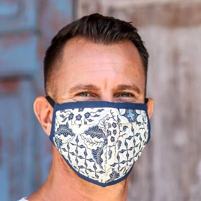 Cotton face masks, 'Batik Protection' (set of 3) - Set of 3 Batik Face Masks with Elastic Ear Loops