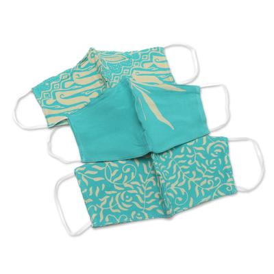 Rayon batik face masks, 'Turquoise Tendrils' (set of 3) - Rayon Batik Face Masks with Two Layers (Set of 3)