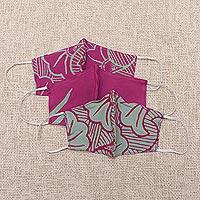 Rayon batik face masks, 'Magenta Blossoms' (set of 3) - Floral Batik Reusable Washable Face Masks (Set of 3)