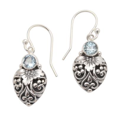 Blue topaz dangle earrings, 'Bali Strawberry in Blue' - Sterling Silver and Blue Topaz Dangle Earrings from Bali