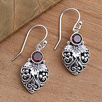 Garnet dangle earrings, 'Bali Strawberry in Red' - Sterling Silver and Natural Garnet Dangle Earrings from Bali