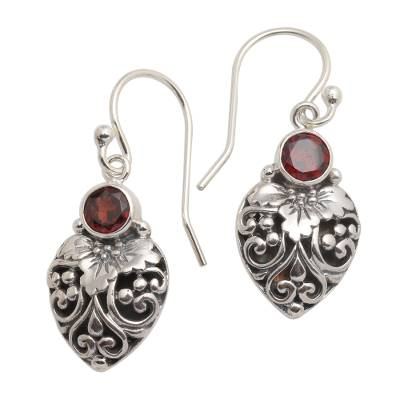 Garnet dangle earrings, 'Bali Strawberry in Red' - Sterling Silver and Natural Garnet Dangle Earrings from Bali