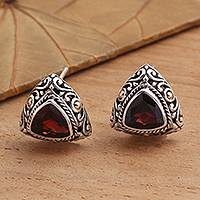 Gold-accented garnet button earrings, 'Pyramid Power in Red' - Triangular Bezel Set Garnet Button Earrings