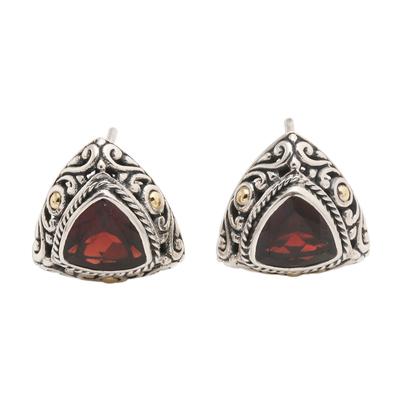 Gold-accented garnet button earrings, 'Pyramid Power in Red' - Triangular Bezel Set Garnet Button Earrings