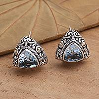 Gold-accented blue topaz button earrings, 'Pyramid Power in Blue' - Triangular Bezel Set Blue Topaz Button Earrings