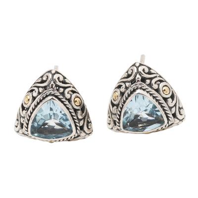 Gold-accented blue topaz button earrings, 'Pyramid Power in Blue' - Triangular Bezel Set Blue Topaz Button Earrings