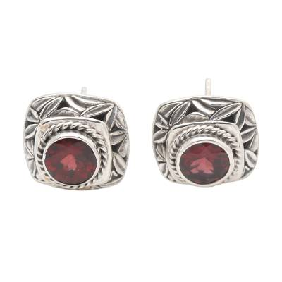 Garnet button earrings, 'Leaves of Bamboo in Red' - Garnet and Sterling Silver Button Earrings Bamboo Leaf Motif