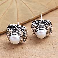Cultured pearl button earrings, 'Leaves of Bamboo in White'