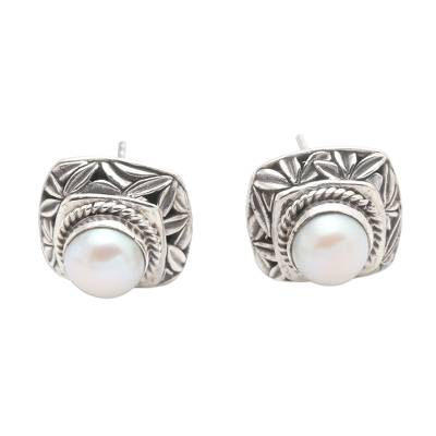 Cultured pearl button earrings, 'Leaves of Bamboo in White' - Cultured Pearl and Sterling Silver Button Earrings