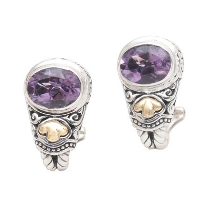 Gold-accented amethyst drop earrings, 'Seashore Vibes in Purple' - Amethyst and Sterling Silver Drop Earrings