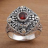 Gold-accented garnet cocktail ring, 'Temple Base' - Garnet and Sterling Silver Cocktail Ring from Bali