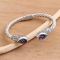Amethyst cuff bracelet, 'Floral Iridescence in Purple' - Pear-Shaped Amethyst Sterling Silver Cuff Bracelet