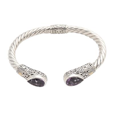 Amethyst cuff bracelet, 'Floral Iridescence in Purple' - Pear-Shaped Amethyst Sterling Silver Cuff Bracelet