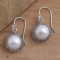 Cultured pearl dangle earrings, 'Shadow in White'