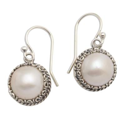 Cultured pearl dangle earrings, 'Shadow in White' - Cultured Pearl Sterling Silver Dangle Earrings