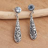 Blue topaz dangle earrings, 'Flower Pendulum' - Balinese Blue Topaz and Sterling Silver Earrings