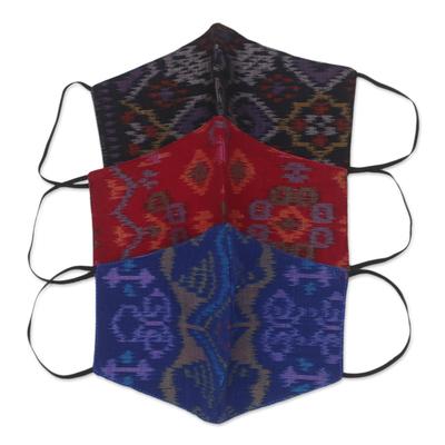 Cotton face masks, 'Ikat Jewels' (set of 3) - 1 Black-1 Burgundy-1 Blue-2-Layer Contoured Ikat Cotton Mask