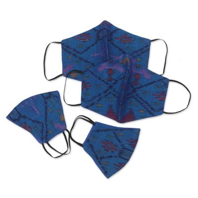 Family set cotton face masks, 'Ikat Blue' (set of 4) - 2 Large /2 Small Handwoven Blue 2-Layer Cotton Ikat Masks
