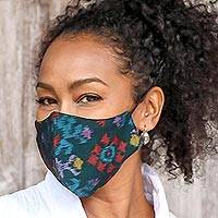 Family set cotton face masks, 'Ikat Mystique' (set of 4) - 2 Adult/2 Child Handwoven Black & Azure 2-Layer Cotton Ikat