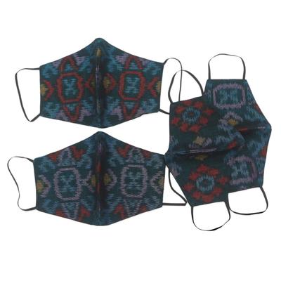 Family pack cotton face masks, 'Ikat Mystique' (set of 4) - 2 Adult/2 Child Handwoven Black & Azure 2-Layer Cotton Ikat