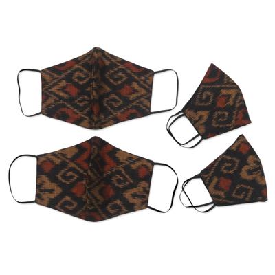 Family set cotton face masks, 'Ginger Brown Ikat' (set of 4) - 2 Adult/2 Child Brown & Black 2-Layer Cotton Ikat Masks