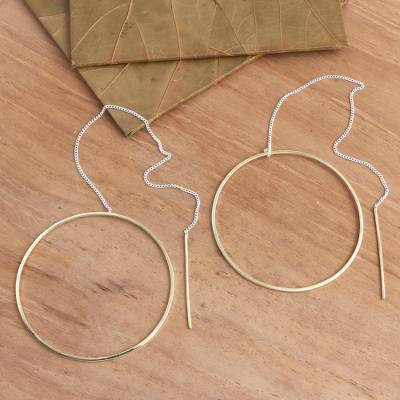Gold plated threader earrings, 'Golden Single Circle' - Gold Plated Threader Earrings Single Circle