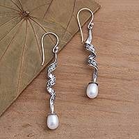 Cultured pearl dangle earrings, 'Spiral Pearl' - Sterling Silver Spiral Earrings with Cultured Pearls